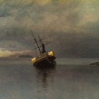Wreck of the Ancon in Loring Bay, Alaska, 1889, on paper mounted on panel